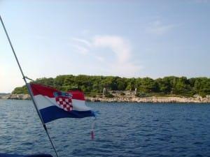 croatian flag with ruins