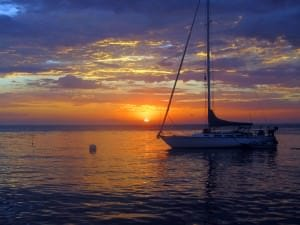 moored boat sunset