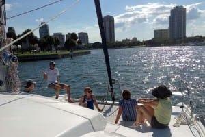 enjoying the catamaran