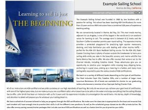 Example Sailing School Description