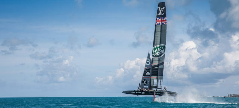 Land Rover BAR's Race boat R1 skippered by Sir Ben Ainslie sailing on the Great sound in Bermuda
