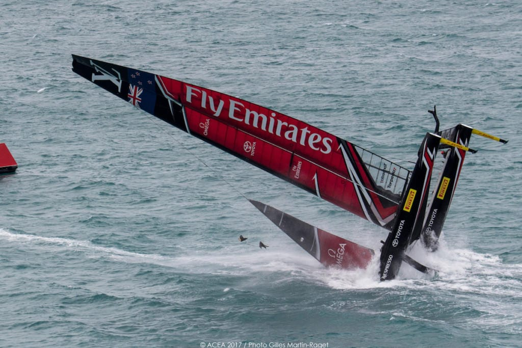 America's Cup Team Emirates New Zealand Capsize