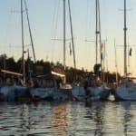 San Juan Flotilla 2016 - Sailboats Rafting Up At Anchor