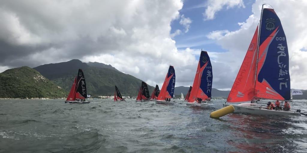 Racing sailboats in Shenzhen China